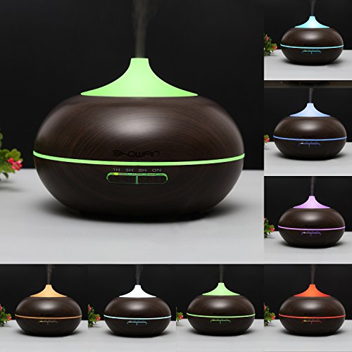 Showpin 300ml Aroma Essential Oil Diffuser Wood Grain Ultrasonic Cool Mist Whisper-Quite Humidifier with 4 Timer sets 14 Color Changing Lights Waterless Auto Shut-off,Christmas (Sonic Refills Collection)