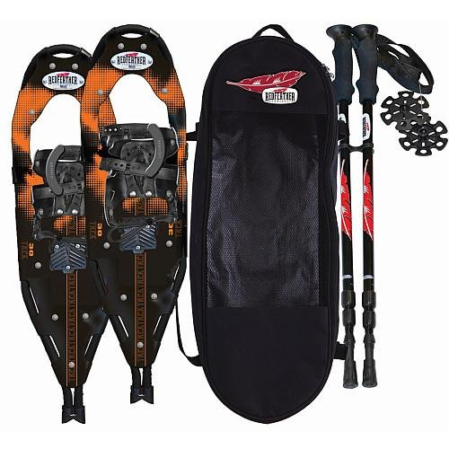 Redfeather Trek 30 Inch Fitness Series Snowshoe Kit with SV2 Bindings Ski Poles and Carry Bag - 152810 (Aluminum Snowshoe Trek)