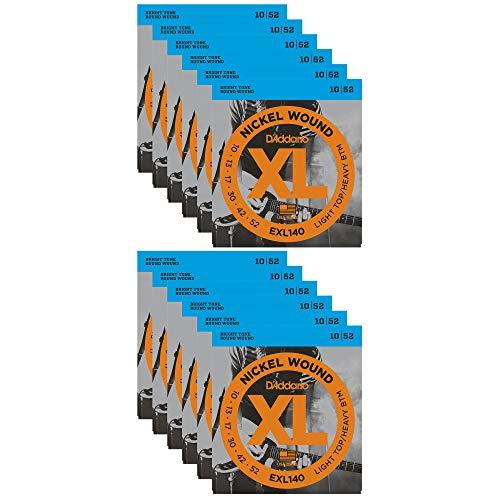 D'Addario EXL140 Electric Light Top/Heavy Bottom 10-52 (12 Pack Bundle)