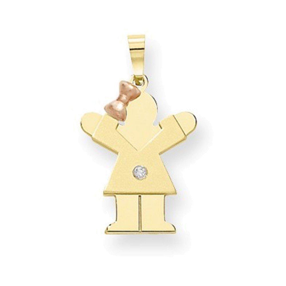 Jewelry Adviser Pendants 14k Two-tone AA Diamond Kid Pendant Diamond quality AA I1 clarity, G-I color