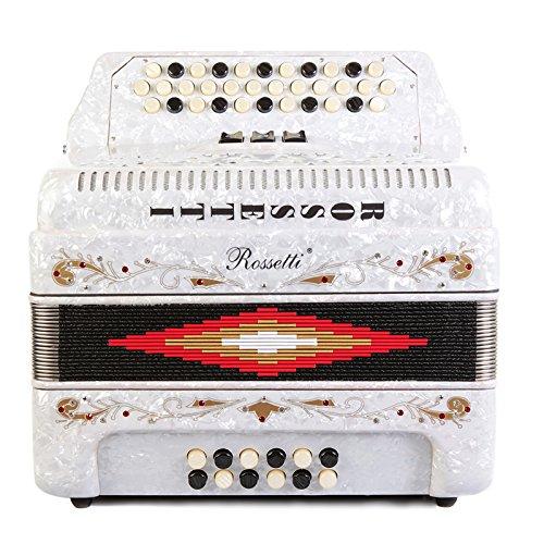Rossetti 3412 34 Button 12 Bass 3 Switch Accordion (White)