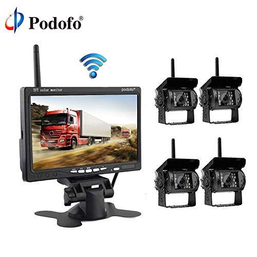 Podofo Wireless Backup Camera System with 7″ LCD Color Car Monitor, 4 Rear View Cameras IR Night Vision Waterproof for RV Truck Bus Trailer
