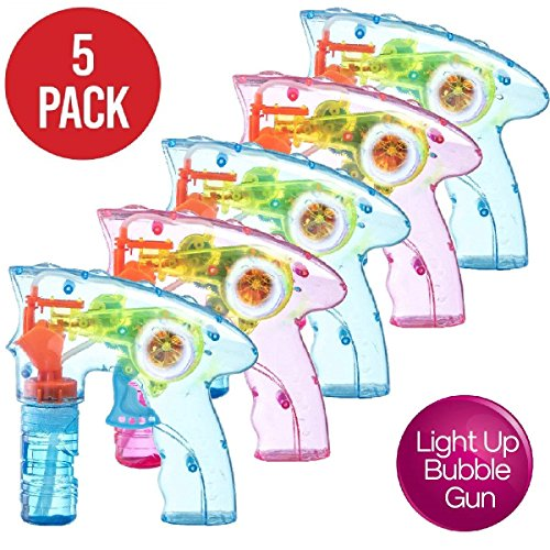 Prextex Pack of 5 Wind up Bubble Shooter Gun LED Light up Bubble Blower Indoor and Outdoor Toys for Puppy's Kid's Boys and Girls no Batteries Needed