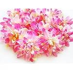 12-Pink-Silk-Dahlia-Flower-Heads-4-Artificial-Flowers-Dahlias-Head-Fabric-Floral-Supplies-Wholesale-Lot-for-Wedding-Flowers-Accessories-Make-Bridal-Hair-Clips-Headbands-Dress