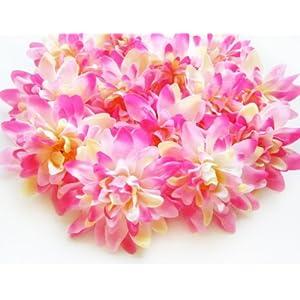 "(12) Pink Silk Dahlia Flower Heads - 4"" - Artificial Flowers Dahlias Head Fabric Floral Supplies Wholesale Lot for Wedding Flowers Accessories Make Bridal Hair Clips Headbands Dress 1"