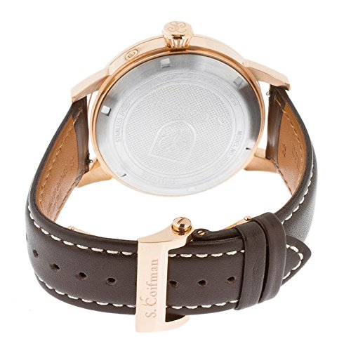 S.Coifman Sc0206 Men's Chronograph Champagne Textured Dial Brown Genuine Italian Leather Watch