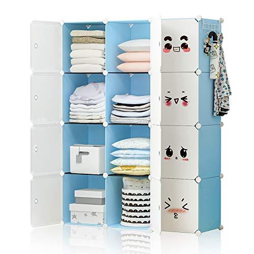 - YOZO Modular Closet Portable Wardrobe Children Dresser Storage Organizer Garment Rack Cube Shelving Multifunction DIY Furniture, Blue, 12 Cubes