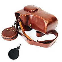First2savvv dark brown Premium quality full body Precise Fit PU leather digital camera case bag cover with should strap for Nikon D7200 D7100 18-55 /18-105mm Lens + UV lens cover -XJD-D7200-HH10UV
