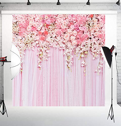 Muzi Pink Flowers Wall Photography Backdrops Rose Floral Spring Photo Background Baby Shower Wedding Studio Photographers Dessert Table Decor Booth Art Fabric Props 5x5ft D-9354 ()