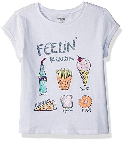 (Gymboree Little Girls' Short Sleeve Printed Knit Top, White Feelin, M)
