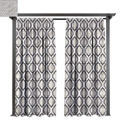 cobeDecor Outdoor Curtain Cream Trellis Pattern Moroccan Art for Lawn & Garden, Water & Wind Proof W72 xL84 ()