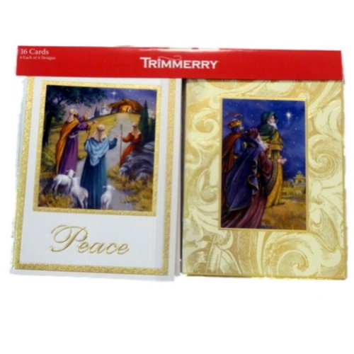 (Trimmery Beige Three Wise Men Peace Manger Star Christmas Cards Holiday Xmas 3)