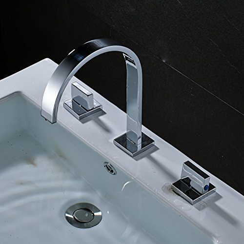 Rozin Chrome 3 Holes Widespread Bathroom Basin Faucet 2 Knobs Vanity Mixer Tap - Art Deco Faucets