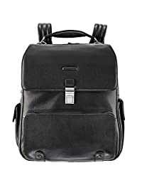 Piquadro Leather Napsack with External and Internal Facilities, Black, One Size