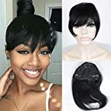 FOND Brazilian Human Hair Clip on Bangs Natural Fringe Clip in Bangs Short Straight Hair Extension for Women 6-8 inch