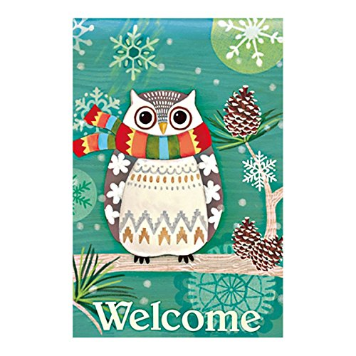 Double Sided Decorative Custom Flag Welcome Winter Day-Cute Owl In Scarf Fade And Mildew Resistant Waterproof Garden Flags 28 X 40 Inch 100% Polyester (Halloween Stores In Texas)