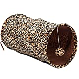 Image of Favorite Medium Cat Tunnel Foldable Lightweight Fun Dangling Ball Toy, Leopard