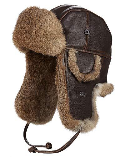 (frr Vintage Rodeo Leather Rabbit Fur Aviator Hat - M)
