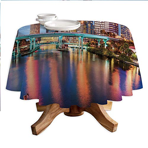 City Round Polyester Tablecloth,Hillsborough River Tampa Florida USA Downtown Idyllic Evening at Business District,Dining Room Kitchen Round Table Cover,36