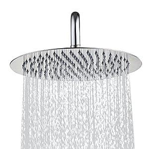 Derpras DPSH10RB 10 Inch Round Rain Shower Head, 304 Stainless Steel,Ultra Thin Powerful High Pressure, Top Spray Bathroom Rainfall Showerhead, Thread Seal Tape Included (Brushed Nickel)