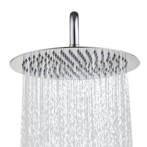 d Rain Shower Head, 304 Stainless Steel, Ultra Thin High Pressure Bathroom Rainfall Showerhead(Brushed Nickel) (126Jets) ()