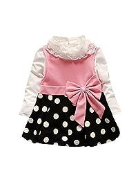 Toddler Baby Girl Lace Shirt +Dot Bow Princess Kids Dress Sundress by XILALU