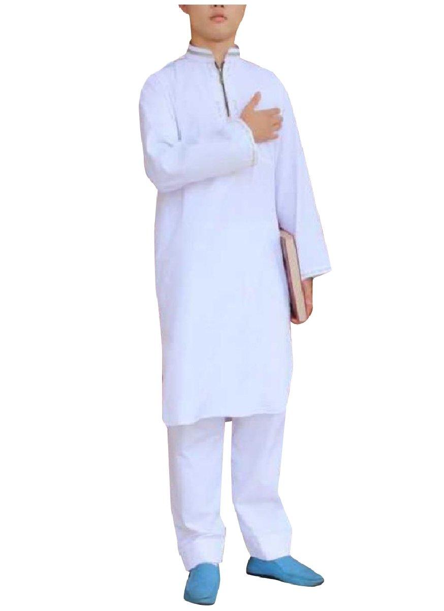 Coolred Men Saudi Arabia Embroidery Islamic Summer Muslim Shalwar Kemeez White 60