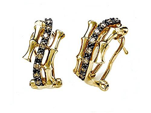 Carlo Viani® Brown Diamonds Bamboo Earrings in 14 kt Yellow Gold LIFETIME WARRANTY