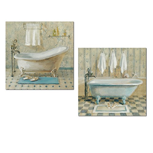 Lovely Light Blue and Cream Clawfoot Bathtub, Towels and Slippers Victorian Set by Danhui NAI; Bathroom Decor; Two 12x12in Unframed Paper Posters ()