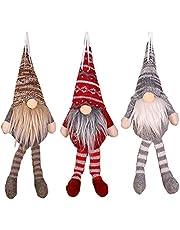 3PCS Handmade Swedish Figurines Plush Christmas Santa Tomte Gnome Decoration,Winter Elf Table Ornaments Tree Hanging Decor for Restaurants Gifts -11.8inch