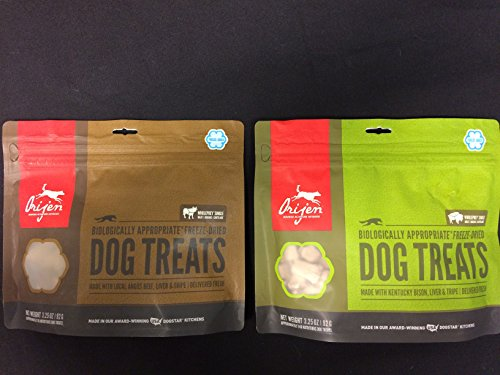 2 Pack Combo of ORIJEN RANCH-RAISED KENTUCKY BISON Dog Treats and ORIJEN ANGUS BEEF, LIVER AND TRIPE Dog Treats (1-3.25 oz bag of each) 2BGS Total