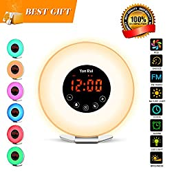 Sunrise Wake Up Light Digital Alarm Clock Sunlight Simulation Sunset Night Light with 6 Nature Sounds FM Radio 7 Colors Snooze Function for Bedside and Kids
