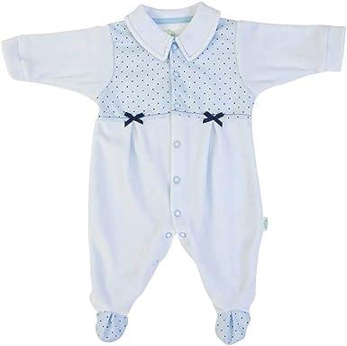 Pijama bebé 0-3 meses macho chenilla lunares azul: Amazon.es ...
