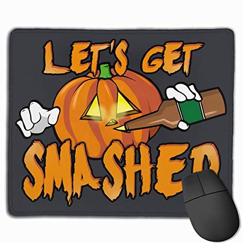 SYMSPAD Let's Get Smashed Halloween Pumpkin Drinking Beer Mousepad 8.6 X 7.1 in]()