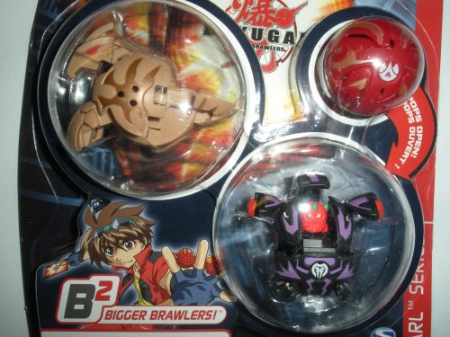 Bakupearl Starter Pack - Bakugan Battle Brawlers Bakupearl B2 Series Starter Pack (Tan) Storm Skyress (Black) Warius (Red)Mystery Marble