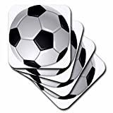 3dRose cst_6254_2 Soccer Ball Soft Coasters, Set of 8