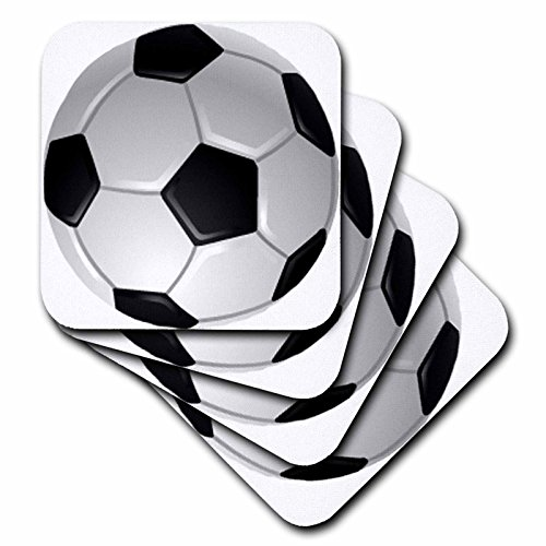3dRose cst_6254_2 Soccer Ball Soft Coasters, Set of 8 by 3dRose