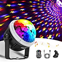 Discokugel LED Party Lampe OMERIL Partylicht mit Sternenmuster 10 Farbe RGBY Musikgesteuert 4M USB Disco Lichteffekte...