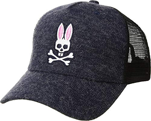 Psycho Bunny Men's Backing Baseball Cap Heather Navy One Size