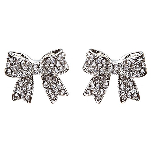 Fashion Crystal Pave Bow Ribbon Stud Earrings Silver