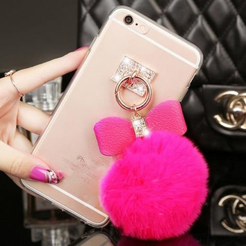 rose Luxury Bling Rhinestone Crystal Clear Rabbit Fur Puffer Ball Tassel Pendant Phone Case Cover for Mobile Cell Phone (ZTE Boost Max N9520 Max+ N9521) (Boost Mobile N9520 Phone Case)