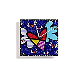 Gift Craft Britto Flying Heart Pop Art 12 Inch Glass Square Wall Clock 334178