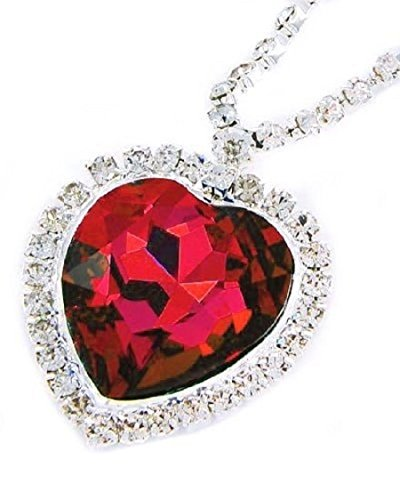 Necklace Red Heart Glass (Large Red Crystal Heart Necklace with Crystal Chain Jewelry Gift Silver Plated)