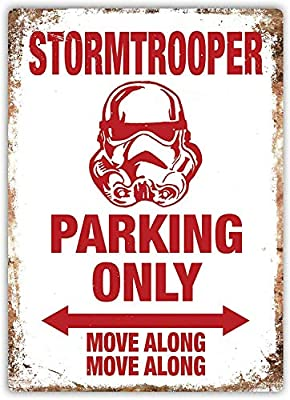 Not Applicable Stormtrooper Parking Only Wall Signs Iron Painting Tin Warning Sign Metal Poster Sheet Plaque Art Decoration for Bar - Hotel Office Garage Dorm