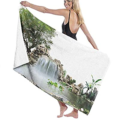BAGT Luxury Oversized Beach Towels, Garden Waterfall Landscape Stars Stripe Bath Towel Wrap Womens Spa Shower and Wrap Towels Swimming Bathrobe Cover Up for Ladies Girls - White