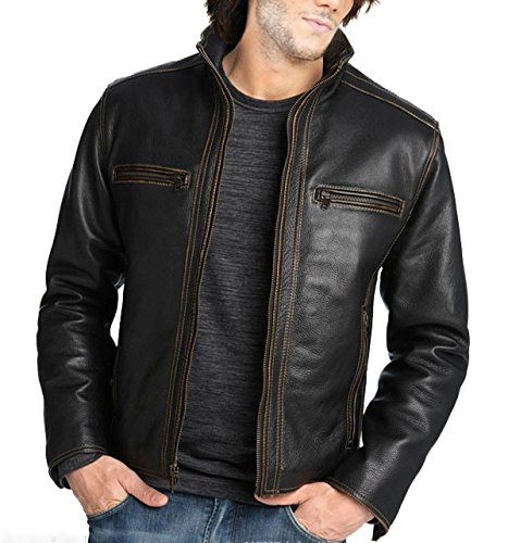 World Of Leather Distressed Moto Thick Leather Jacket Biker Contrast Stitch (S38)