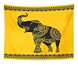 Emvency Tapestry Artwork Wall Hanging Ornate Elephant Ideal Ethnic Tattoo Yoga African Indian Thai Spirituality 50x60 Inches Tapestries Mattress Tablecloth Curtain Home Decor Print