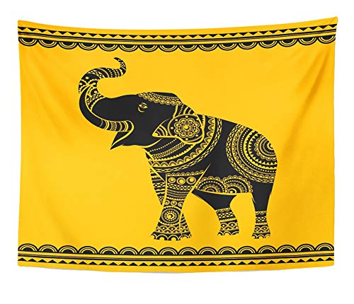 Emvency Tapestry Artwork Wall Hanging Ornate Elephant Ideal Ethnic Tattoo Yoga African Indian Thai Spirituality 50x60 Inches Tapestries Mattress Tablecloth Curtain Home Decor Print by Emvency