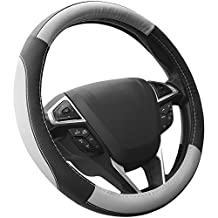 SEG Direct Black and Gray Microfiber Leather Auto Car Steering Wheel Cover Universal 15 inch