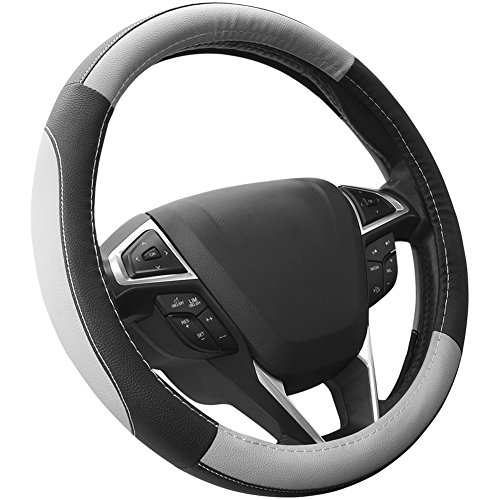 SEG Direct Black and Gray Microfiber Auto Car Steering Wheel Cover Universal 15 inch